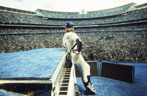 Elton John at the Los Angeles Dodgers Stadium in 1975