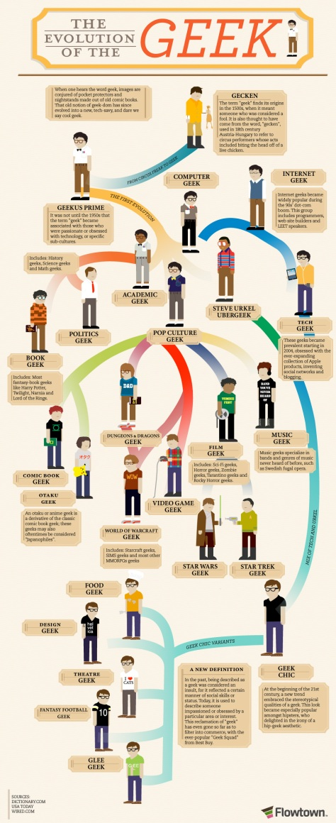 Infographic showing the Evolution of a Geek