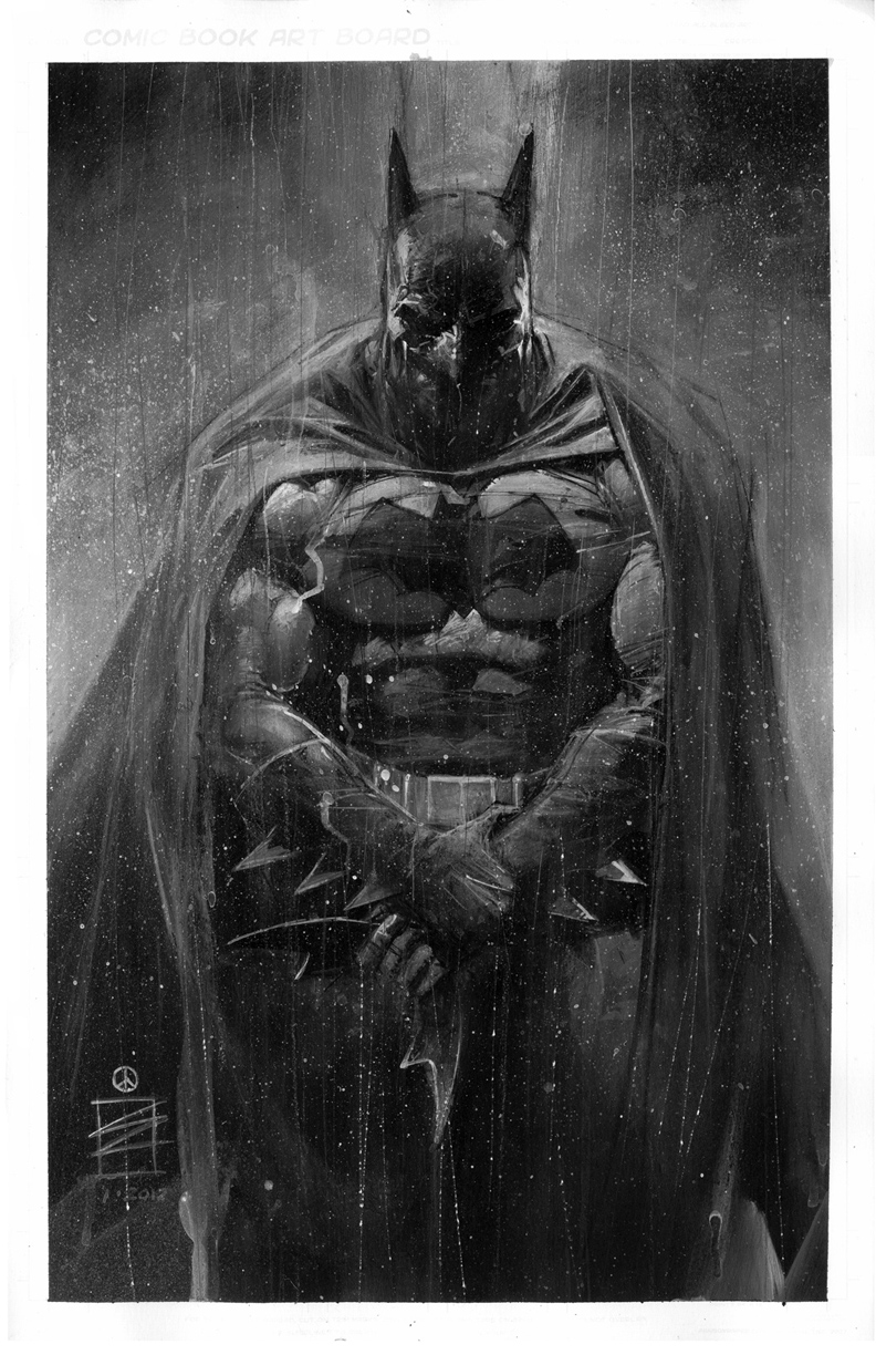 Eddie newells black white batman art