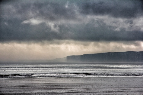 Storm over Flamborough Head from Filey Bay