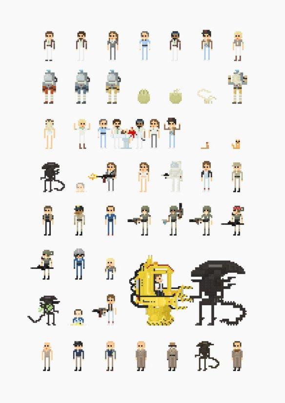 Alien 8Bit Pixel Characters