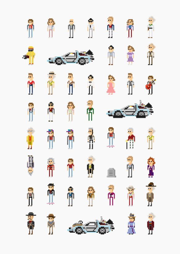 Back to the Future '8-Bit' Pixel Characters