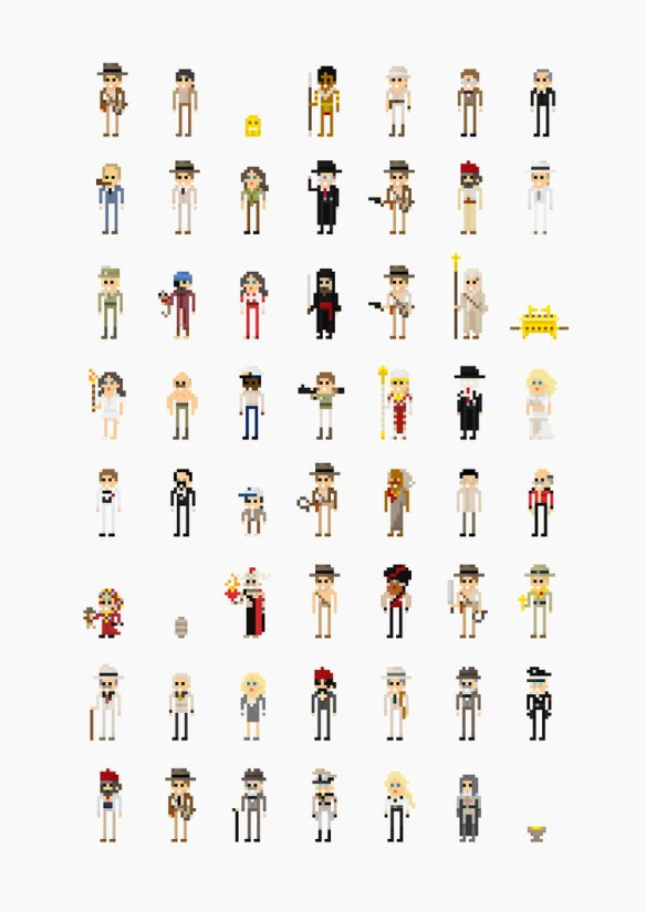 Indiana Jones '8-Bit' Pixel Characters