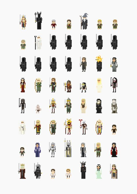 Lord of the Rings '8-Bit' Pixel Characters