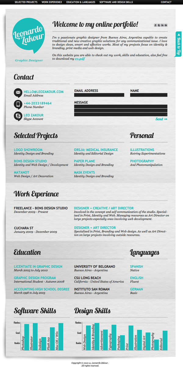 creative cv  resume design