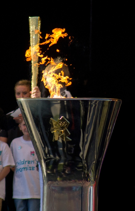 Olympic Torch Leeds Face in the Fire
