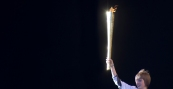 Olympic Torch Leeds Lighting The Cauldron 1