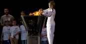Olympic Torch Leeds Lighting The Cauldron