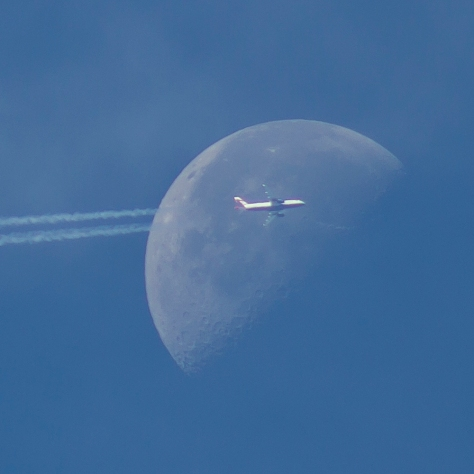 Jet crossing the Moon over Leeds
