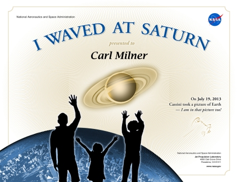 I Waved at Saturn Official NASA Certificate