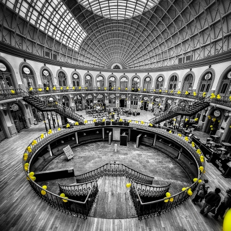 Corn Exchange dressed in yelllow for the Tour de Yorkshire in Leeds