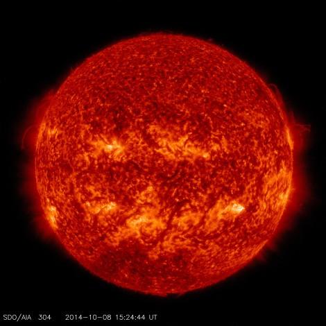 Taken in 304 Angstrom Extreme Ultraviolet Light.