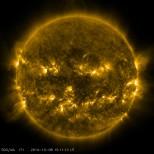 Taken in 171 Angstrom Extreme Ultraviolet Light.
