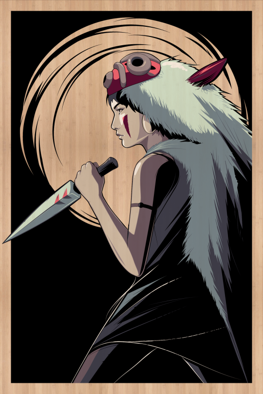 Princess Mononoke Silkscreen on Bamboo by Craig Drake ©2014