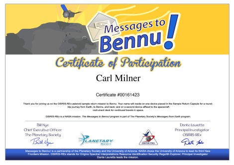 Carl Milner Nasa Osirisrex Name in Space Certificate No_00161423