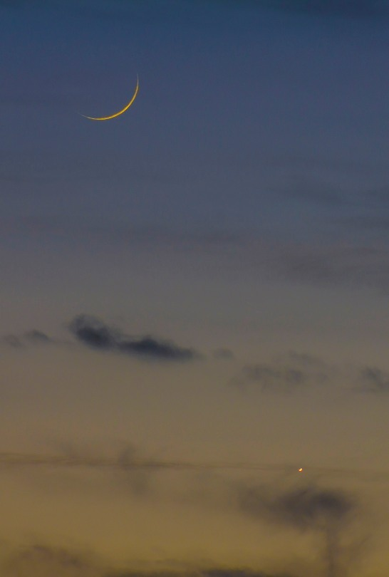 First Crescent Moon of 2014 over Leeds with a Crescent Venus