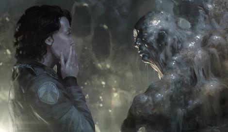 Alien 5 Neill Blomkamp Face Melting Artwork by Geoffroy Thoorens