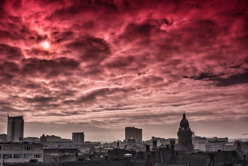2015 Solar Eclipse over the Leeds Skyline by © Carl Milner