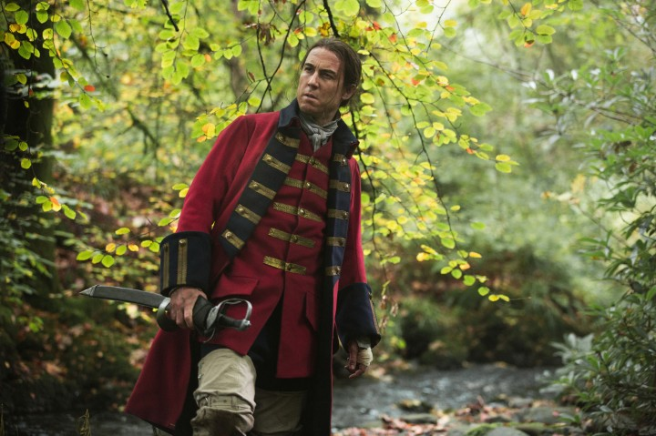 Tobias Menzies in his redcoat uniform as Outlander's Black Jack Randall