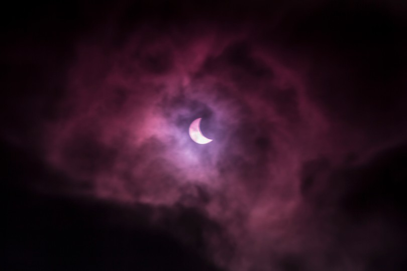 Purple Filter Solar Eclipse over the Leeds by Carl Milner © 2015