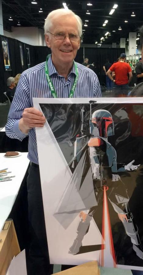 Jeremy Bulloch with his Boba Fett artwork by Craig Drake