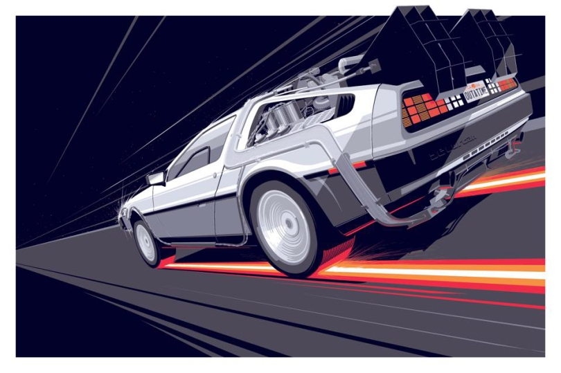 Back to the Future DeLorean Part 1 by Craig Drake Solo Show II Hero Complex Gallery