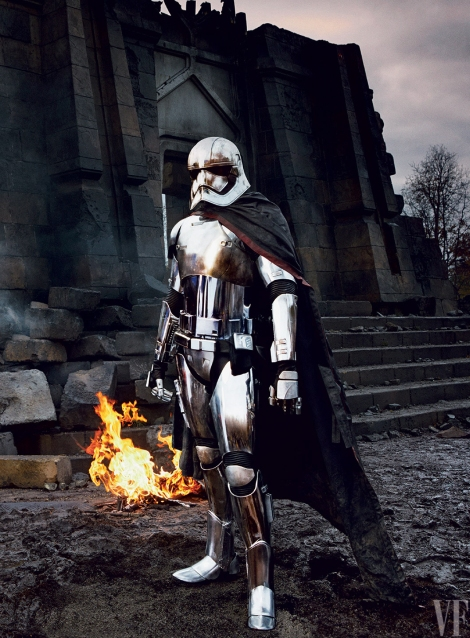 Captain Phasma The Chrometrooper or Chrome Trooper played by Gwendoline Christie Star Wars The Force Awakens Vanity Fair