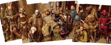 Galactic travelers, smugglers, and other assorted riffraff fill the main hall of pirate Maz Kanata's castle
