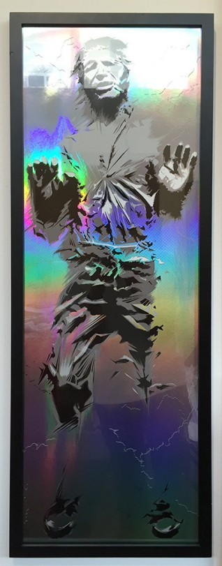 Han Solo in Carbonite Foil by Craig Drake Solo Show II Hero Complex Gallery