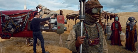 J. J. Abrams directs Actress Daisy Ridley for a scene in which her character, the young heroine Rey, pilots her speeder through a bustling marketplace on the planet Jakku