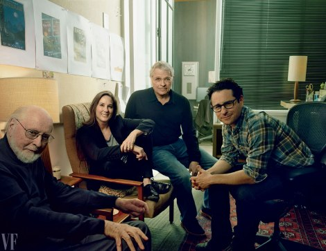 Members of the brains behind The Force Awakens composer John Williams, producer and Lucasfilm president Kathleen Kennedy, cowriter Lawrence Kasdan, and director and cowriter JJ Abrams
