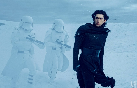 Next-generation bad guy Kylo Ren Adam Driver commands snowtroopers loyal to the evil First Order on the frozen plains of their secret base