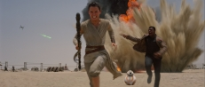 Rey, BB-8, and Finn under attack from a Tie Fighter Star Wars The Force Awakens