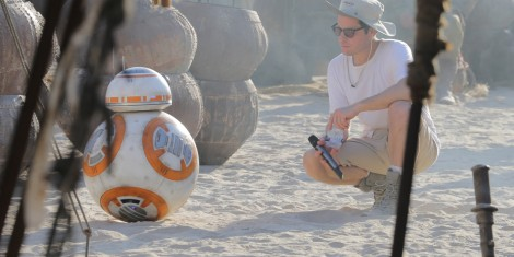 BB-8 and JJ Abrams on the set of Star Wars The Force Awakens
