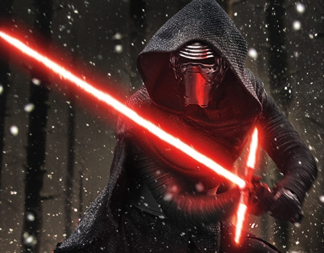 Kylo Ren (played by Adam Driver) strikes a pose with his homemade lightsaber. It turns out, his true identity has been masked from us in more ways than one …