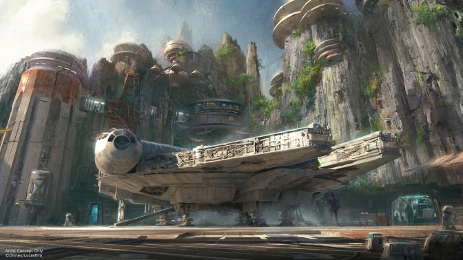 Star Wars themed land Millenium Falcon Ride Concept Art