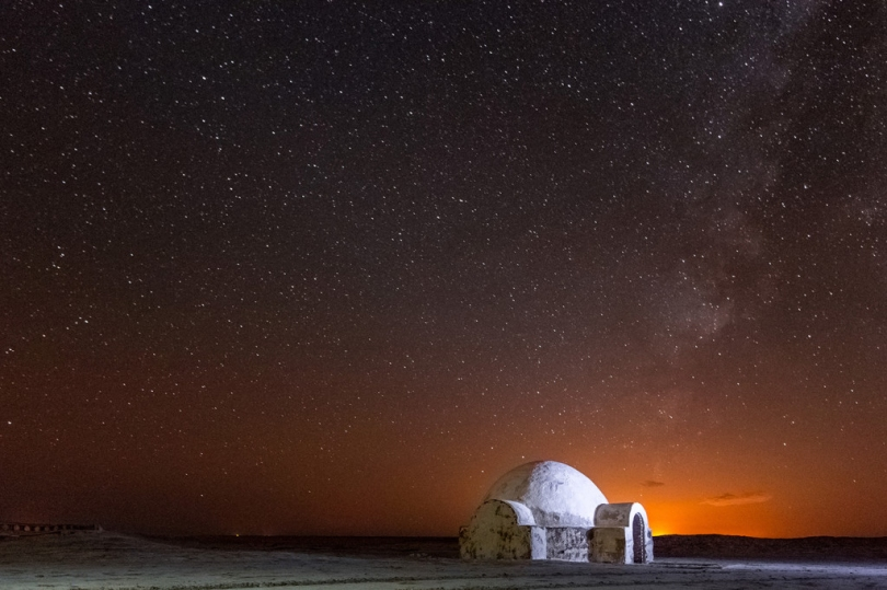 A glittering nighttime view of the Lars homestead Chott El-Jerid Tunisia _ Star Wars Tatooine Location