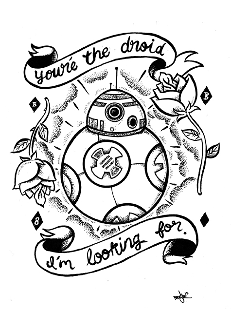 Bb8 luve2809d original star wars artwork by benjie escobar for Star wars bb8 coloring pages