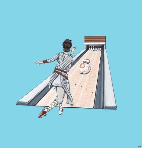 Bowling With BB8 - Original Star Wars Art AWakens - by Kiersten Essenpreis