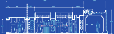 Star Wars The Force Awakens Blueprints of Starkiller Base Maintenance Corridor Elevation H Detail