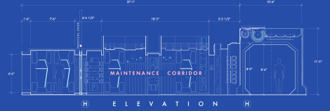 Star Wars The Force Awakens Blueprints of Starkiller Base Maintenance Corridor Elevation H