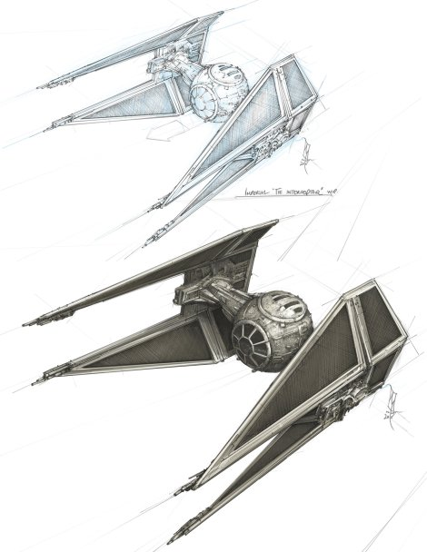 Star Wars Imperial Tie Interceptor Fighter Concept Sketch by Shane Molina