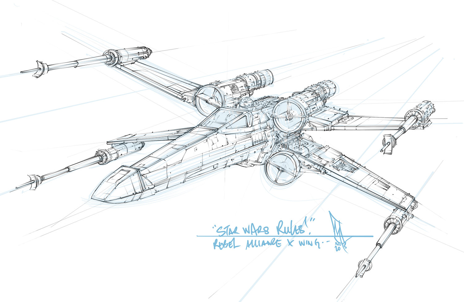 Star wars t 65 incom x wing sketch by shane molina for Star wars x wing coloring pages