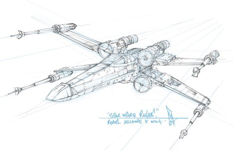 Star Wars T-65 Incom X-Wing Sketch by Shane Molina