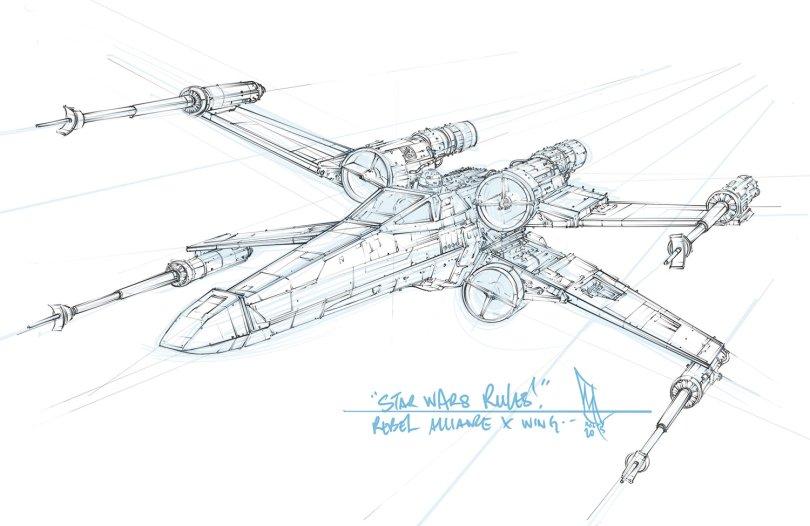Star Wars T-65 Incom X-Wing Sketch by Shane Molina