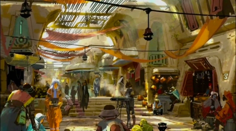 Disneyland 60 Star Wars Land New Concept Art Hi Res MilnersBlog - Star Wars Market Place