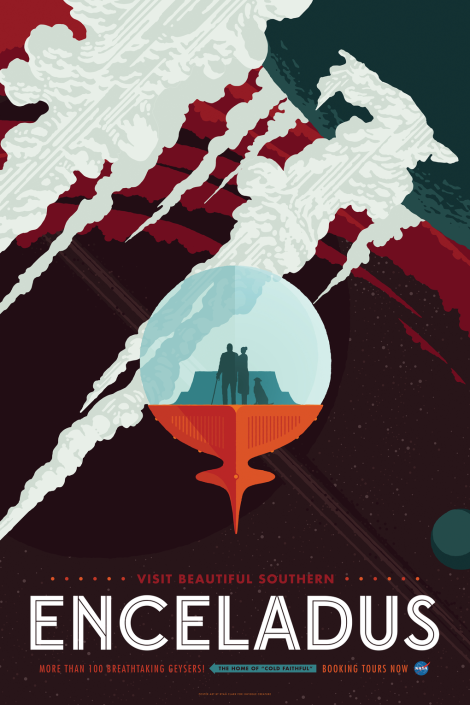 NASA Space Tourism Poster Enceladus by Invisible Creature