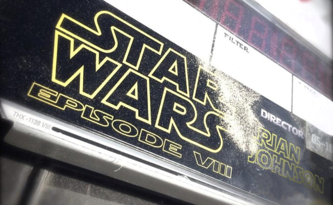 Star Wars VIII Episode 8 Rian Johnson Clapper Board Day 1