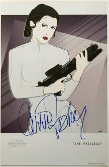 Signed Carrie Fisher 'The Princess' Mondo Artwork by Craig Drake on MilnersBlo