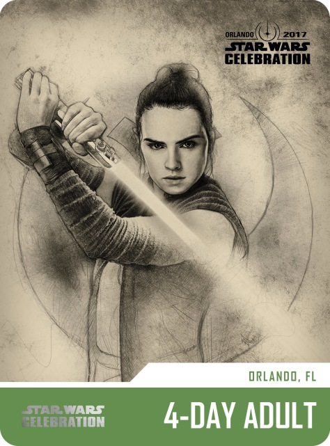 Star Wars Celebration 4 Day Adult Pass and Badge Art 2017 Rey